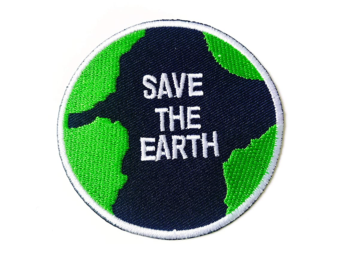 Tyga_Thai Brand Save The Earth World Love Planet Map Logo Peace Logo Sew on Iron on Embroidered Applique Badge Sign Patch (Iron-TheEarthPlanet-MAP)