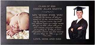 LifeSong Milestones Personalized Graduation Gift for Graduate Ideas for Men and Women Picture Frame Holds 2 4x6 Photos My Wish for You (Black)