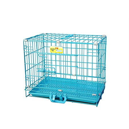 Paws for A Cause Dog Cage Blue Indian 24 Inch Small with Removable Tray