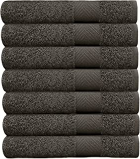 COTTON CRAFT - 7 Pack Charcoal Color Bath Towels - 100% Ringspun Cotton - 27x52 – Light Weight 450 Grams - Quick Drying and Highly Absorbent- Ideal for Daily Use