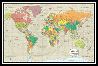 30x48 World Wall Map by Smithsonian Journeys - Tan Oceans Edition - Push Pin Travel Map Black Framed (30x48 Framed)