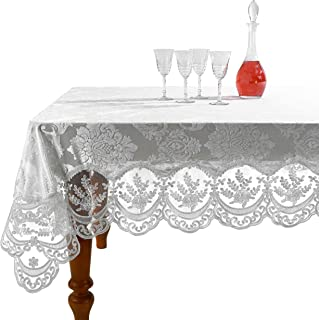 Violet Linen Fontainebleau Embroidered Lace Tablecloth, Floral Velvet Design - White - 70