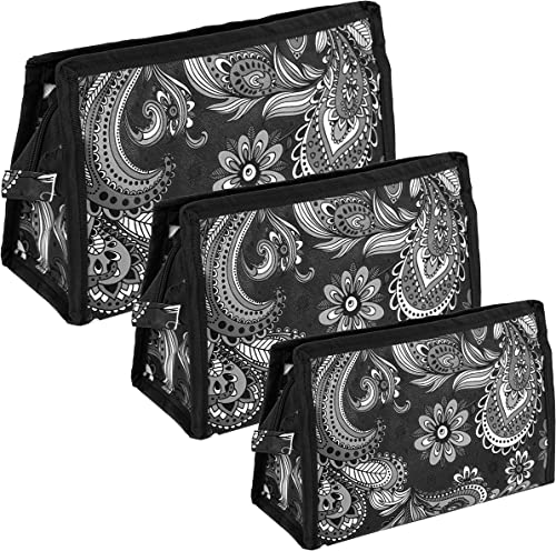 Set Of 3 Peacock Pattern Travel Pouch Toiletry Organizer Cosmetic Pouch For Women Black