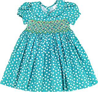 sissymini - Infant & Toddler Heart Printed Cotton Hand Smocked Dress Blue Amore (12M-4T)