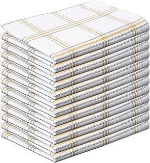 GLAMBURG 100% Cotton Kitchen Dish Towels 18x28 Set of 12, Tea Towels, Absorbent Dish Towels Cotton, Kitchen Dish Cloths, Cleaning Towels, Kitchen Towels with Hanging Loop - Mustard Yellow