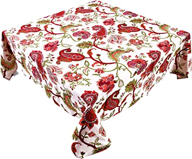 Miyanbazaz textiles 100% Cotton Floral Print Design Square 4 Seater Table Cover/Tablecloth- RED (Red/Multi, 60X60)