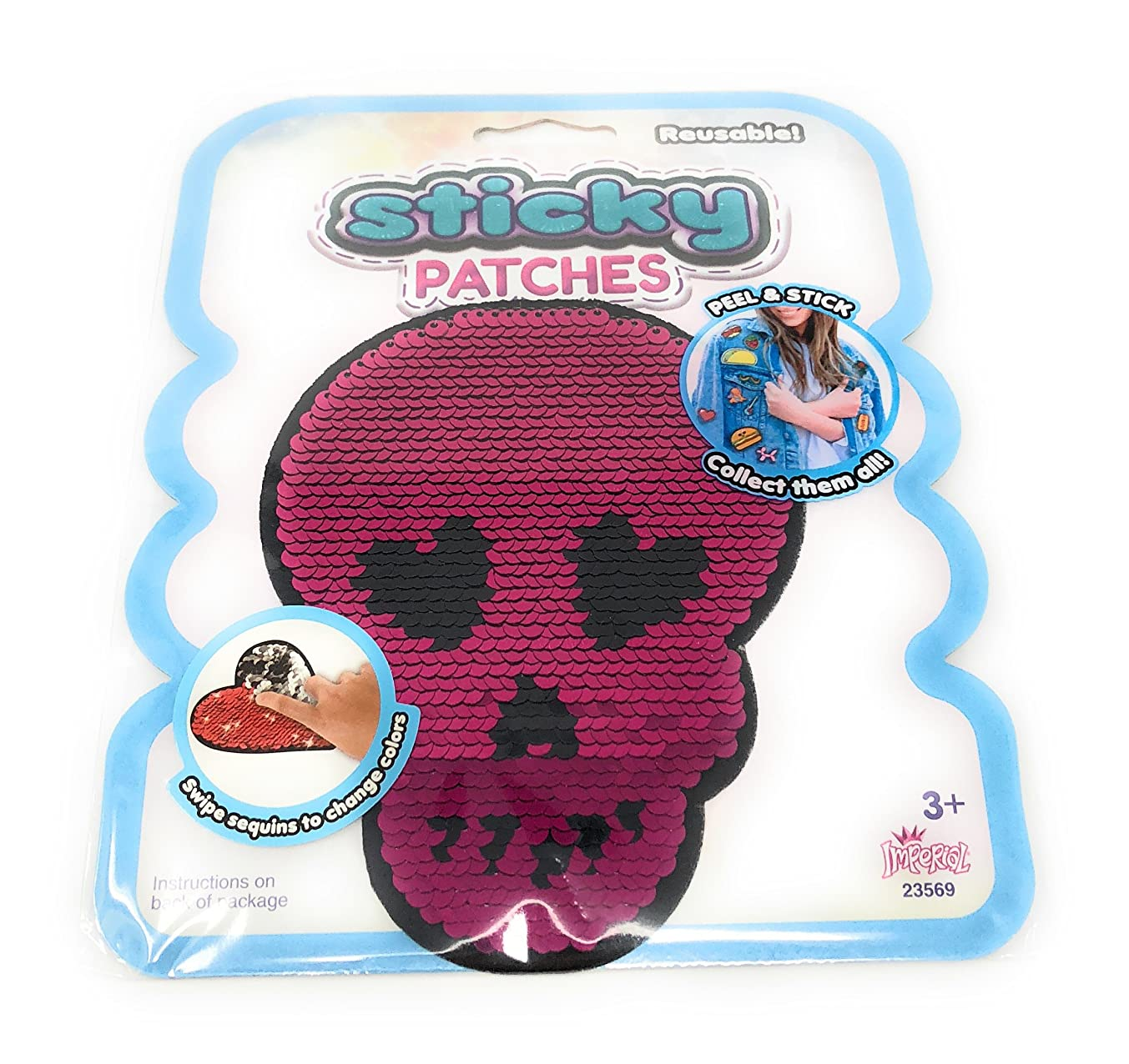 Imperial Reusable Decorative Sticky Patches ~ 1 count (Sequin Skull)