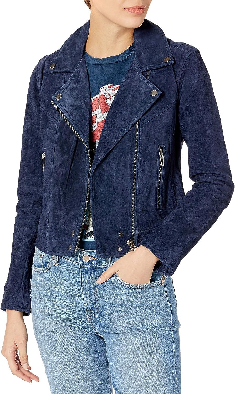 BLANKNYC Womens Suede Moto Jacket with Pocket Zipper Detail