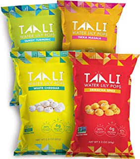 Taali Variety Pack Water Lily Pops (4-Pack) - Four Delicious Flavors. Now with Sriracha! | Protein-Rich Roasted Snack | Non GMO Verified - 2.3 oz Multi-Serve Bags