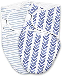 SwaddleMe Luxe Easy Change Swaddle – Size Small/Medium, 0-3 Months, 2-Pack (Water Color Indigo)
