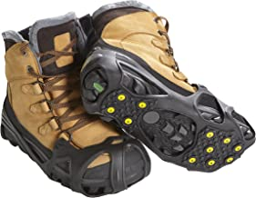 ICETRAX Pro Winter Ice Grips for Shoes and Boots - 11 Traction Cleats for Snow and Ice, StayON Toe, Reflective Heel