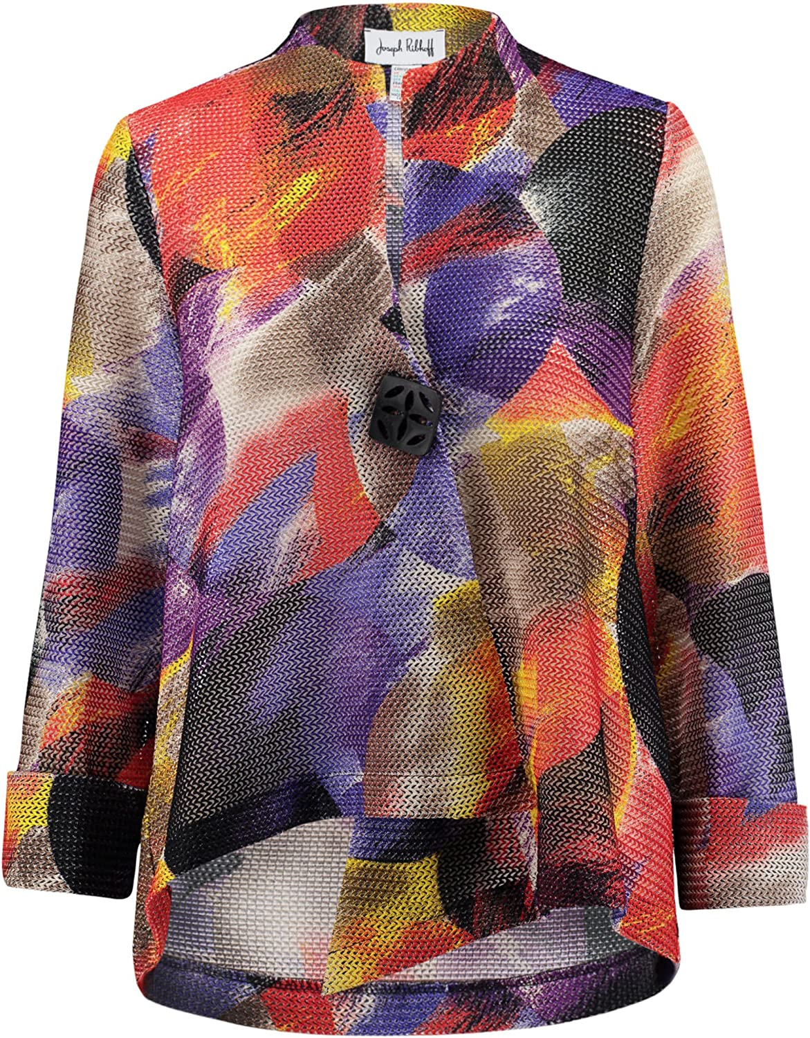 Joseph Ribkoff Multicoloured Knit Button Closure Coverup Jacket Style 171596