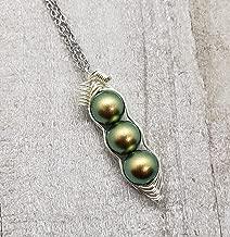 Green 3 Peas in a Pod Necklace, Swarovski Pearl Peapod Necklace, Birthstone for AUG