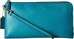 Pebbled Leather Double Zip Wallet