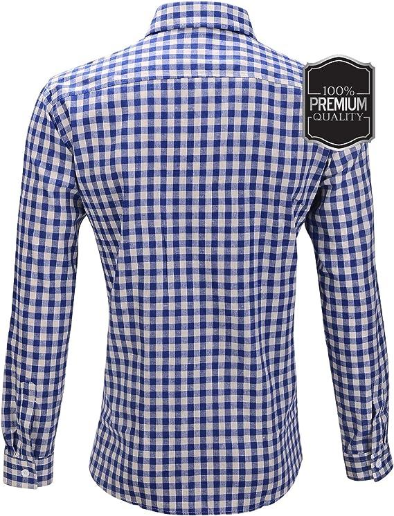 Oktoberfest Wiesn - Camisa ajustada para hombre, de algodón a cuadros, color rojo, azul y blanco azul / blanco L