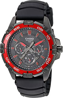 Men's MTD1069B-1A2 Round Analog Black and Red Dial and Black Resin Strap Watch