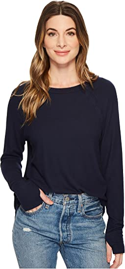 Michael Stars - Madison Brushed Jersey Scoop Neck Top with Thumbholes