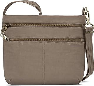 Travelon Anti-theft Signature Double Zip Cross Body Bag, Sable