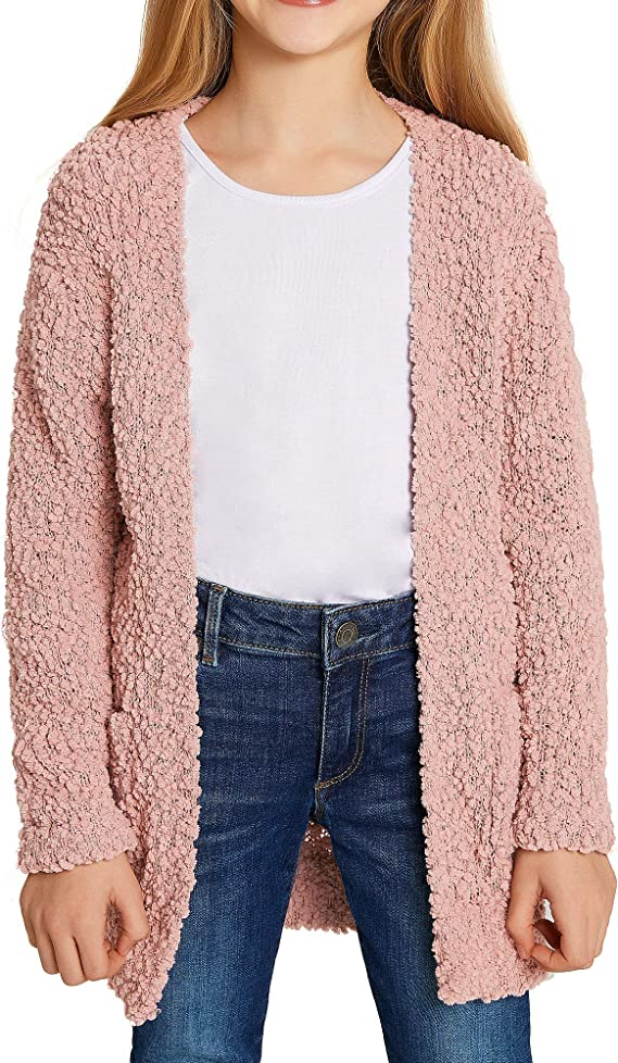 LookbookStore Girls Open Front Knit Sweater Cardigan Pocketed Outerwear 4-13 Years