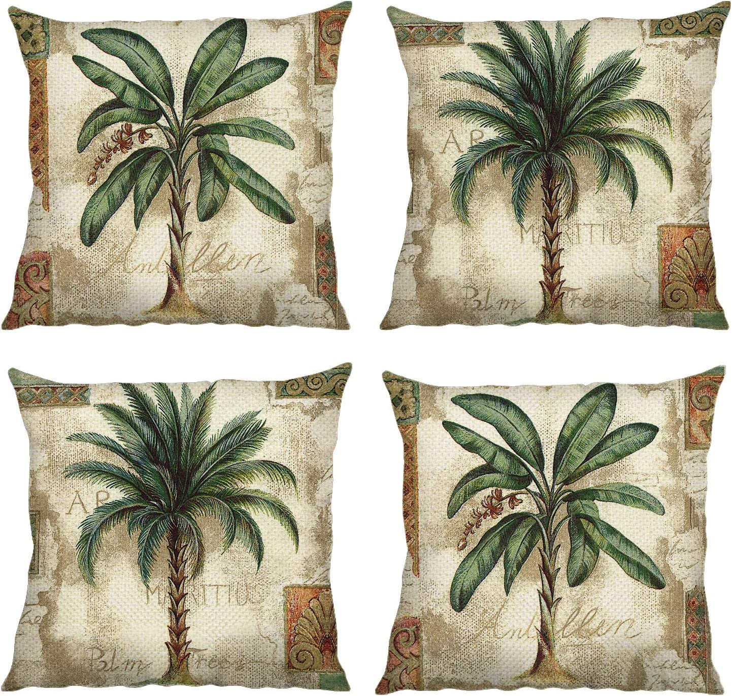 Bonhause Tropical Palm Tree Throw Pillow Covers Inch x 18 Set Sale SALE% OFF Miami Mall