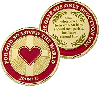 God Loves You Coin, for God So Loved The World That He Gave His Only Begotten Son, John 3:16 Gift. Gold Plated Christian C...