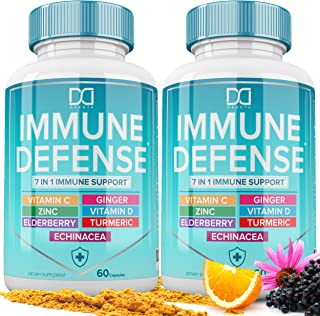 7 in 1 Immune Support Booster Supplement with Elderberry, Vitamin C and Zinc 50mg, Vitamin D 5000 IU, Turmeric Curcumin & ...