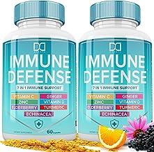 7 in 1 Elderberry, Vitamin D 5000 IU, Vitamin C, Tumeric and Ginger, Zinc 50mg & Echinacea Immune System Booster Support S...
