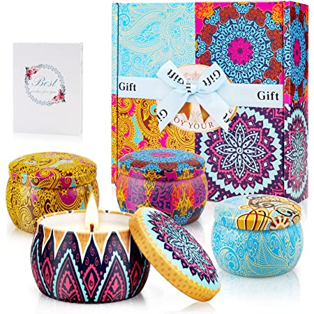 Yinuo Candle Velas Perfumadas Vela Aromática Caja de Regalo 4 Latas, 4.4 oz, 120 Horas de Quema, Cera de Soya con Tarjeta de Felicitación, Patrón Clásico,Regalos Originales para Mujer