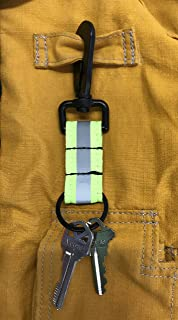 LINE2design Reflective Firefighter Turnout Key Ring - Fire Rescue Nylon Key chain - Fireman Turnout Bunker Gear Accessorie...
