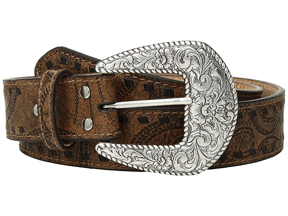 M&F Western Embossed with Tonal Laced Edges Belt (Brown) Women