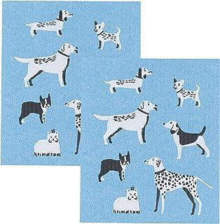 Now Designs Swedish Dishcloth, Dog Days Print, Set of 2