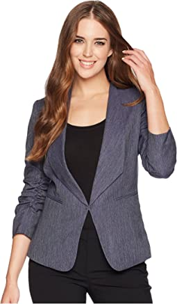 Shawl Collar Ruched Sleeve Jacket