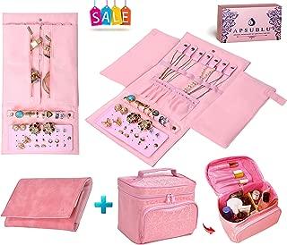 APSUBLU Best Gift Set Luxury Rose Velvet Jewelry Travel Organizer Case Bonus Roses Toiletry Holder Makeup Bag for Women.Tangle Free Necklace, Ring Tube, 4 Pocket & 16 Earring Storage Jewelry Bag