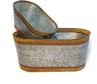 GRILA Rustic Metal Planter Set - Oval Two Tone Bucket Set of 2 Farmhouse Kitchen Window Style planters Holds Water, Make Holes if Planting Flowers or Put Potted Plants Inside for Cute Country Style