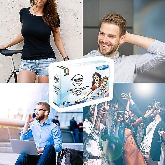 DacezPRO® Sobaqueras Sudor Hombre Mujer 100% Producto Italiano Unisex Antitranspirante Axilas Almohadillas Axilares Desodorante Viaje Anti Sudor ...