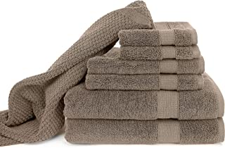 Blake Deluxe 7 Piece Bath Towel and Bath Mat Set - Densely Woven Premium Ultra Soft, High Absorbency Combed Cotton - Luxury Spa Bath Towels - 700 GSM (Tan)