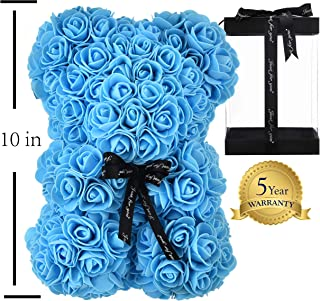 Artificial Flowers Rose Teddy Bear Fully Assembled Rose Bear - Over 250 Dozen for Mothers Day, Anniversary & Bridal Showers - 10 inch Clear Gift Box (Blue)