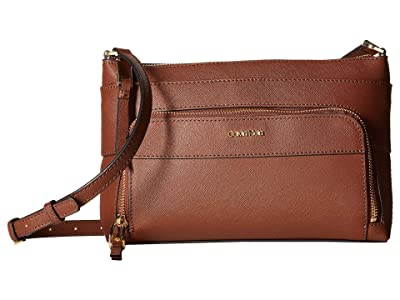 Calvin Klein Key Item Saffiano Leather Top Zip Crossbody (Walnut) Cross Body Handbags