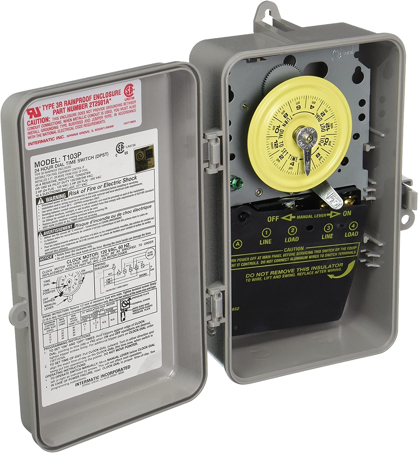 Intermatic T103P Ranking TOP19 Timer 40A DPST 125V Heavy-Duty Outlet ☆ Free Shipping Electromechanic