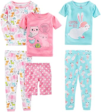 Simple Joys by Carter's Baby Girl's 6-Piece Snug Fit Cotton Pajama Set, Pack of 6