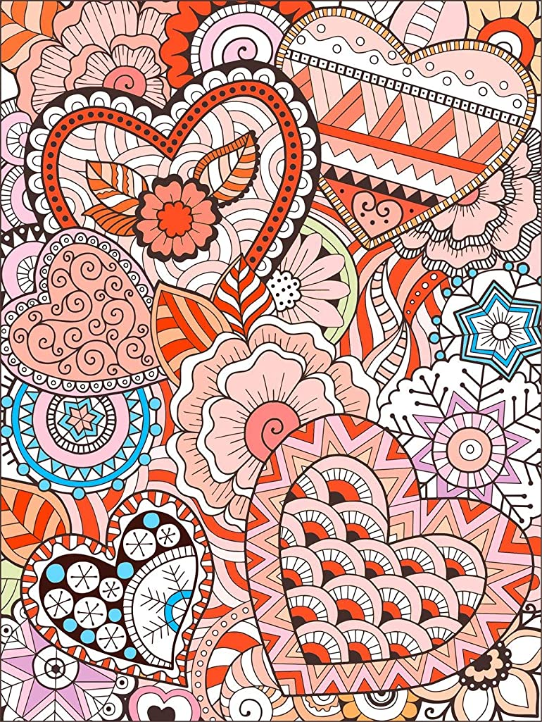 ART4U DIY Paint & Create Color Canvas Kit, Painting by No Number Kit, Draw Your own Design, for Kids, Students, Adults Beginner - Herats 9x12 inch with Brushes and Acrylic Pigment