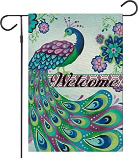 Haustalk Welcome Blue Peacock Garden Flag Vertical Double Sided Burlap Summer Outdoor Yard Outdoor Decor 12.5 x 18 Inches ...
