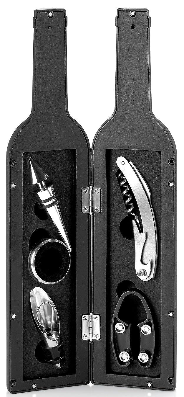 Kitch N' Wares Wine Opener Set - Bottle Corkscrew and Accessory Set - Piece Wine Opener Kit Gift Set - Bottle Opener, Stopper, Drip Ring, Foil Cutter and Wine Pourer