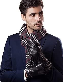 YISEVEN Men's Touchscreen Sheepskin Winter Leather Dress Gloves