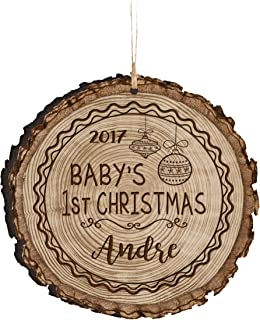 LifeSong Milestones Personalized Baby's First Christmas Ornament New Parent Gift Ideas for Newborn Boys and Girls Custom Engraved Ornament for mom dad and Grandparents 3.75