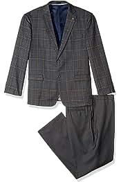 STACY ADAMS Mens 3-Piece Notch Lapel Boucle Vested Suit