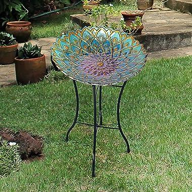 Peaktop 3014051 Birdbath Bowl Fountain Handpainted Mosaic Flower Fusion Glass Pedestal Bird Bath for Outdoor Patio Garden Bac
