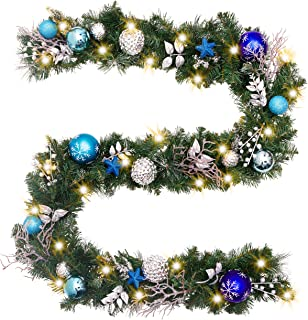 Valery Madelyn Pre-Lit 9 Feet/106 Inch Winter Land Blue Silver Christmas Garland with Ball Ornaments, Snowflakes, Pine Cones, Ribbons and Flowers, Battery Operated 40 LED Lights