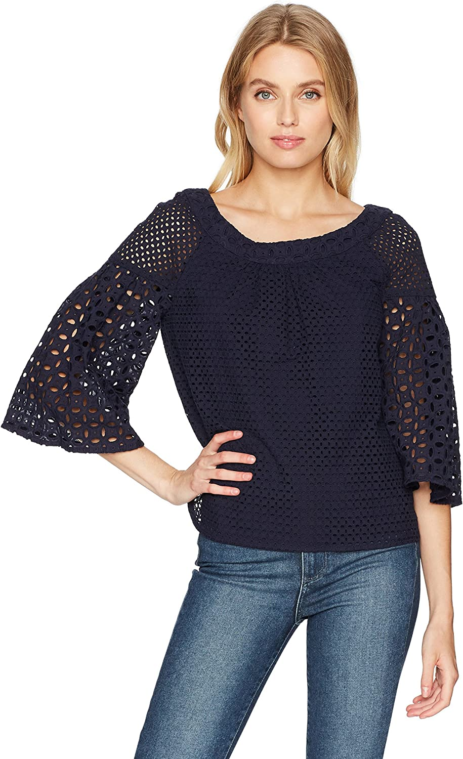 Trina Turk Womens Coit Eyelet Exaggerated Sleeve Top Blouse
