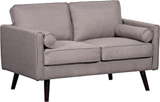 Container Furniture Direct Alice Romantic Linen Upholstered Mid-Century Modern Loveseat, Light Brown